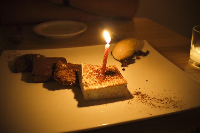 dessert: cinnamon mille-fuille, caramom marshmallow, chocolate ganache, burnt honey ice cream