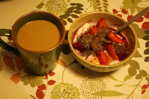 yogurt with fruit, chia seeds and honey