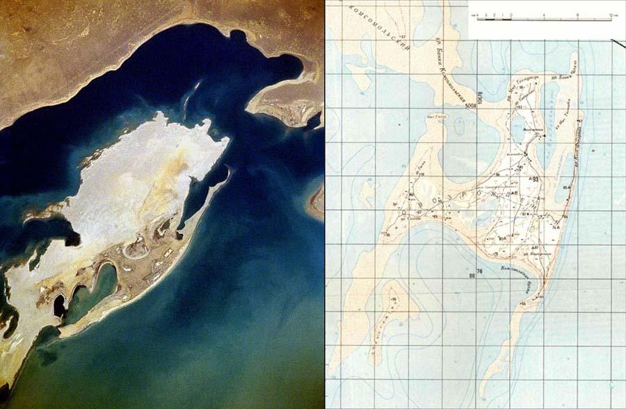 Vozrozhdeniya Island Map