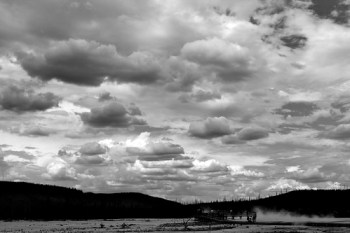 Geothermal Area and Clouds B&W