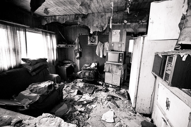 A particularly ransacked home. Looters attacked a few weeks prior.