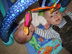 Flora and Aiden on the play mat