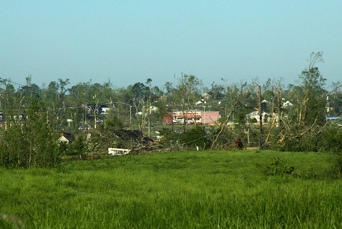 CVS Pharmacy is seen in the background of this photo on U.S. Hwy 431. The tornadoe's path is in the foreground.