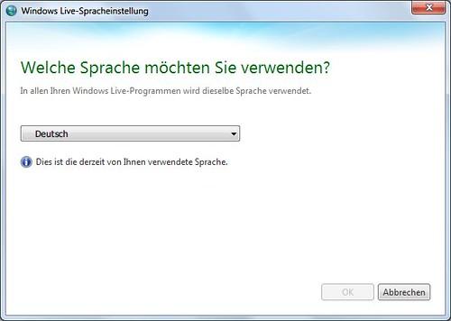 Windows Live Language Selector