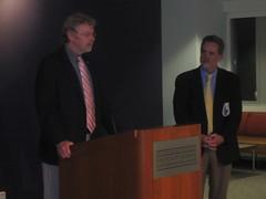 Bob Maguire (left) panel moderator and Ray Offenheiser (right); Photo Credit: Elliott School of International Affairs