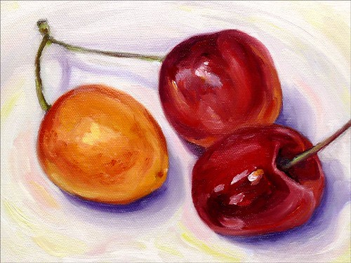 Cherries Oil Painting - Finished