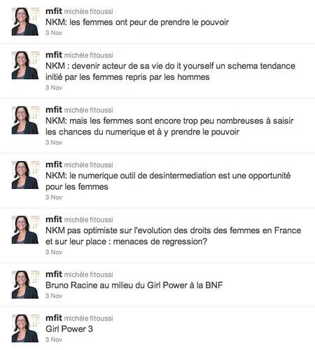 Tweets de Michèle Fitoussi / GirlPower3, citations de NKM