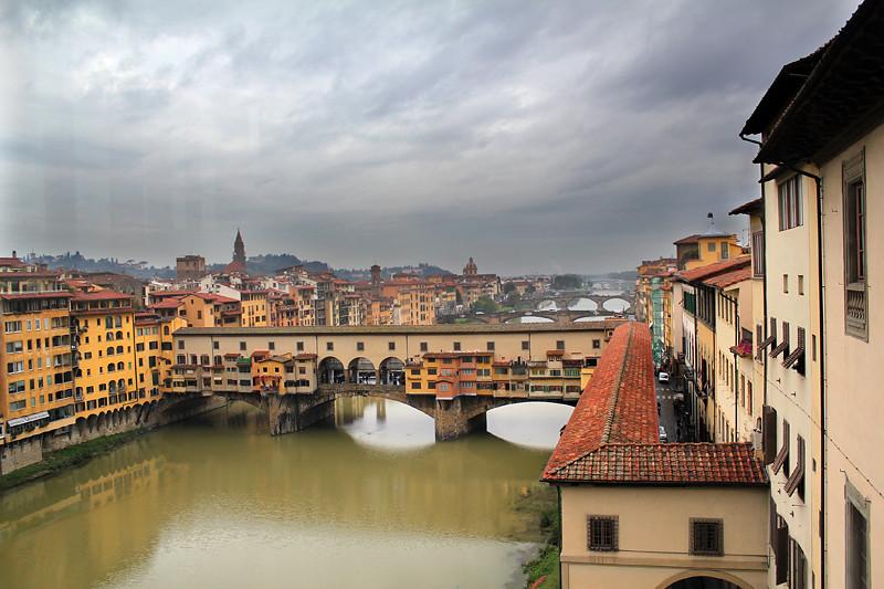 Ponte Vecchio viewed from Galleria degli Uffizi on a stormy day