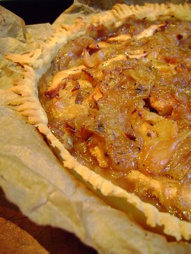 Hedgehog Mushroom and Onion Tart