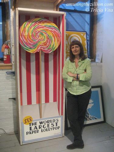 Philomena Marano with cut paper installation Giant Lolly