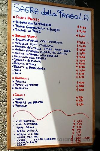 Menu - Sagra della Fragola, Strawberry Festival in Italy