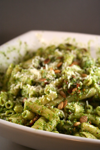 Penne with Sun-Dried Tomatoes and Arugula Pumpkin Seed Pesto