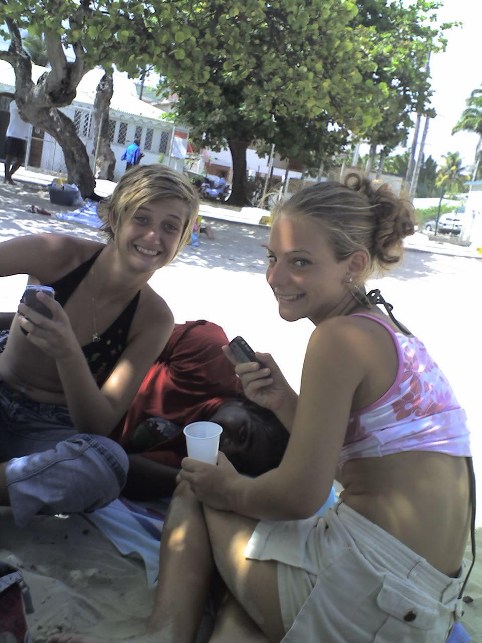 Vacances 2007 - Plage du bourg - Lisa - Teddy - Justine
