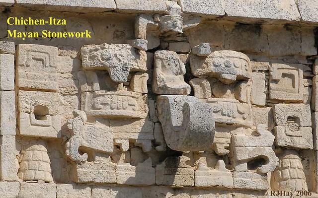 Chichen-Itza Mayan Stonework - Mask of Chac