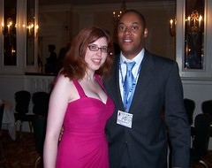 Engaged cartoonists Mikhaela Reid and Masheka Wood at the AAEC Banquet