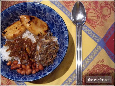 Nasi lemak with tamarind squid