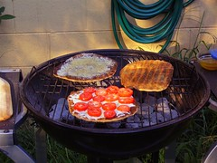 Pizzas on the grill
