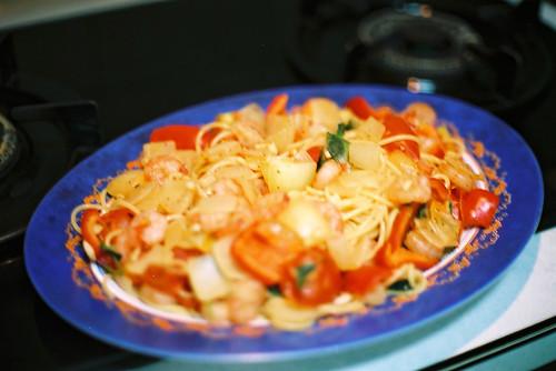 鮮蝦紅椒義大利麵