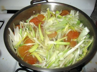 leeks and apricots cooking