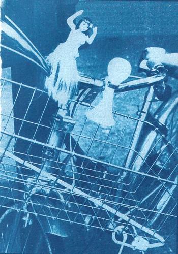 Hula Bike - cyanotype from enlarged negative on cheap Vellum