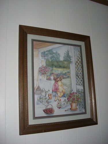 Wall print with roses and mom and child