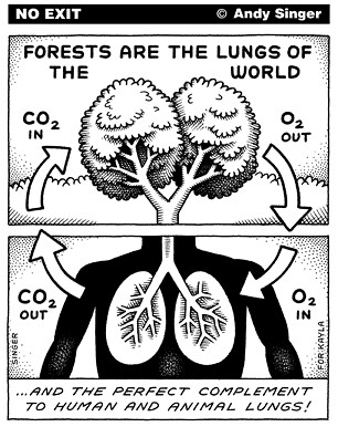 Andy Singer's No Exit: Forests are the Lungs of the World