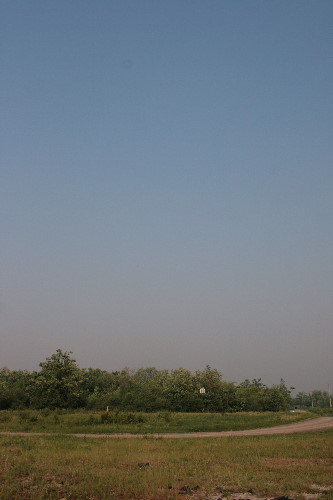Smoggy haze from smoke from Quebec forest fires