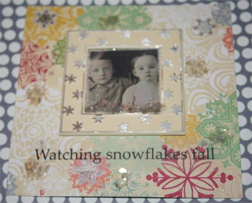 "Watching Snowflakes Fall 4"" x 4"" Collage card"