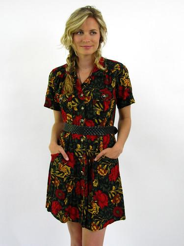 VINTAGE 80s TROPICAL FLORAL DRESS