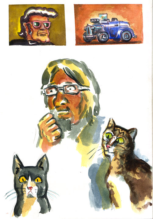 Sketchbook page - with me and cats.