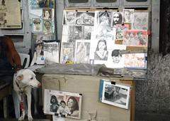 dog sells drawings of master