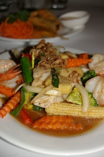 Garlic Seafood Stir-Fry at Baan Krua Thai
