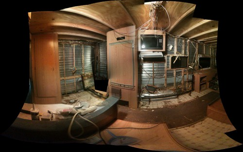 a view of the stripped-down interior of the darkroom trailer.