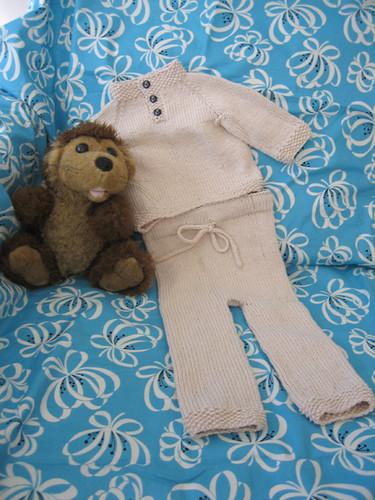 Child's Placket-Neck Pullover & Baby's Denim Drawstring Pants