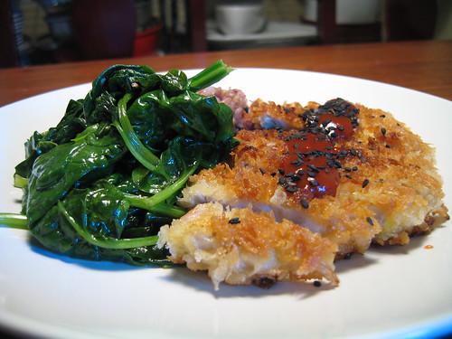 tonkatsu & sauteed bloomsdale spinach