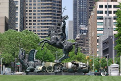 United Nations - sculpture - Good Defeats Evil...