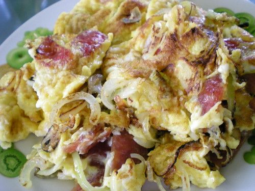 Chinese sausage & onion omelette 2