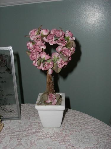 Pink rose topiary