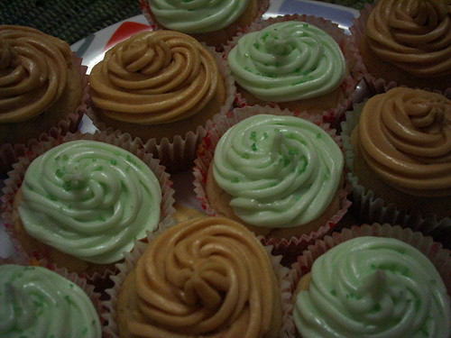 Banana peanut butter cupcakes, with some margarita ones thrown in for good measure.  Aww yeah.