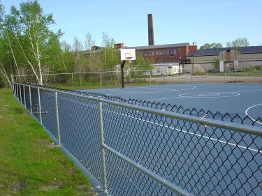 Basketball court with factory