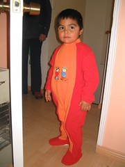 Nacho con pijama de oso...