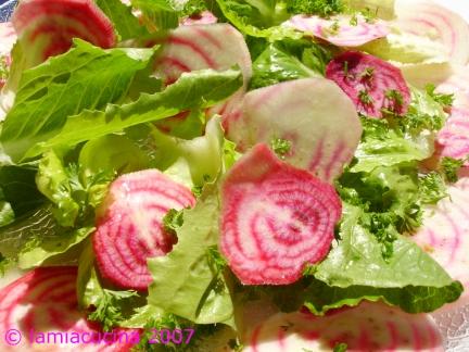 Salat aus Chioggia-Randen und Lattich