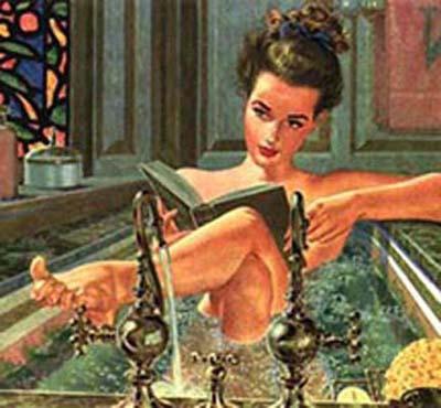 Lesen in der Badewanne, Vintage