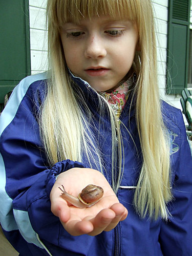 Morgan with snail