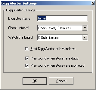 Digg Alerter Dialog Box (Options)