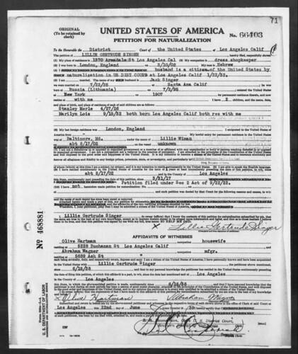 Jake Wiman's daughter_SINGER_Lillian_Petition for Naturalization (1939)
