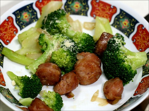broccoli and sausages