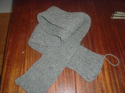 A grey scarf.
