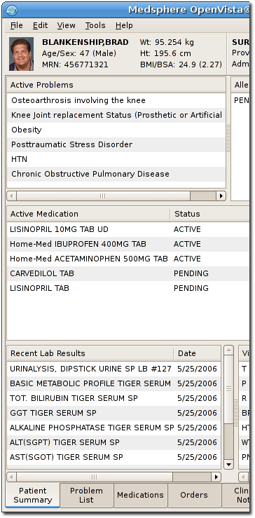 Screenshot of Mono frontend of OpenVistA