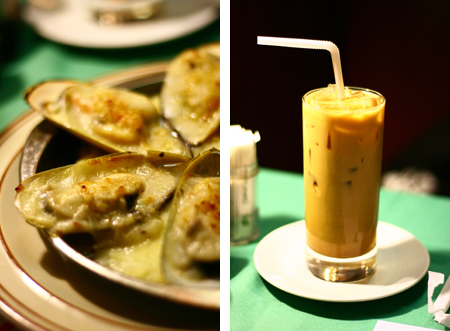 baked mussels and iced milk tea